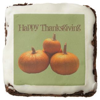 Colorful Pumpkin Thanksgiving Greeting Brownies Square Brownie