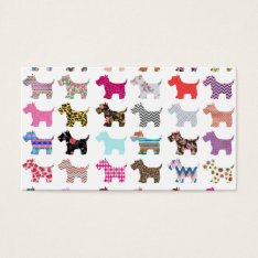 Colorful Puppy Dog Chevron Zigzag Floral  Pattern Business Card at Zazzle