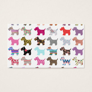Colorful Puppy Dog Chevron Zigzag Floral  Pattern Business Card