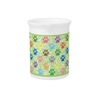 Colorful puppy paw prints beverage pitcher