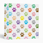 Colorful puppy paw prints binder