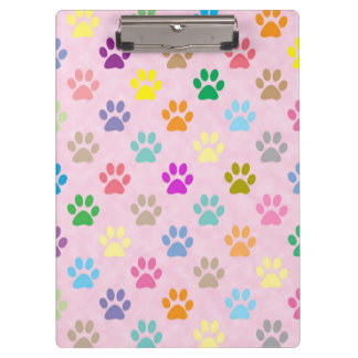 Colorful puppy paw prints clipboard