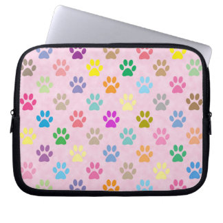 Colorful puppy paw prints computer sleeve