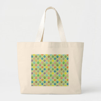 Colorful puppy paw prints large tote bag