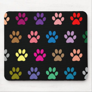 Colorful puppy paw prints on black mouse pad
