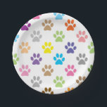 "Colorful puppy paw prints paper plate<br><div class=""desc"">Cute colorful puppy paw prints pattern paper plates</div>"