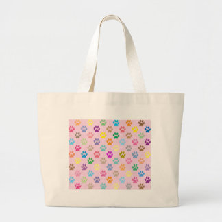 Colorful puppy paw prints pattern large tote bag
