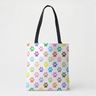 Colorful puppy paw prints pattern tote bag