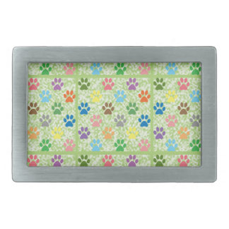 Colorful puppy paw prints rectangular belt buckle