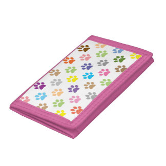 Colorful puppy paw prints wallet