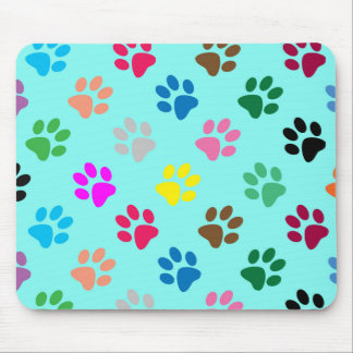 Colorful puppy paws mouse pad
