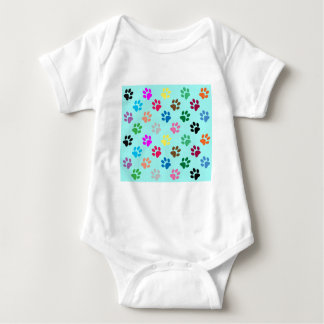 Colorful puppy paws pattern baby bodysuit