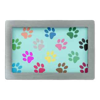 Colorful puppy paws pattern belt buckle