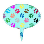 Colorful puppy paws pattern cake topper