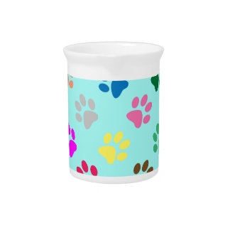 Colorful puppy paws pattern drink pitcher