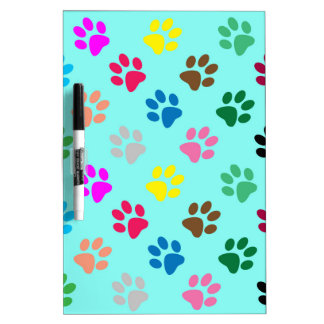 Colorful puppy paws pattern dry erase board