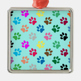 Colorful puppy paws pattern metal ornament