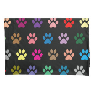 Colorful puppy paws pattern pillow case