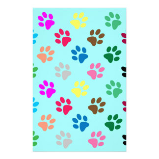 Colorful puppy paws pattern stationery