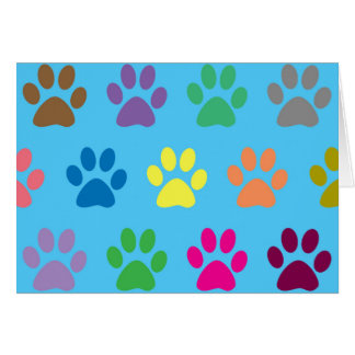 Colorful puppy paws print card