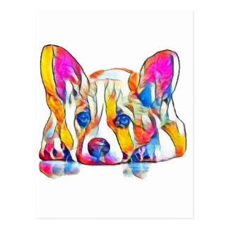 Colorful puppy postcard