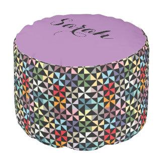 Colorful Purple and Black Geometric Pinwheel Name Pouf