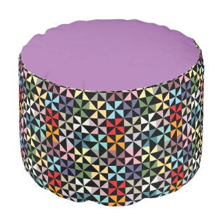 Colorful Purple and Black Geometric Pinwheel Pouf