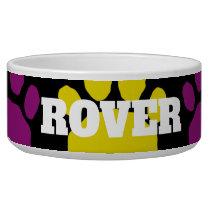 Colorful Purple and Teal  Animal Paw Print Bowl