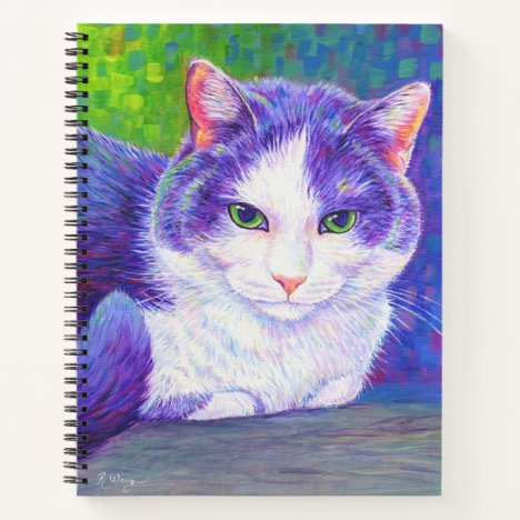 Colorful Purple and White Cat Spiral Notebook