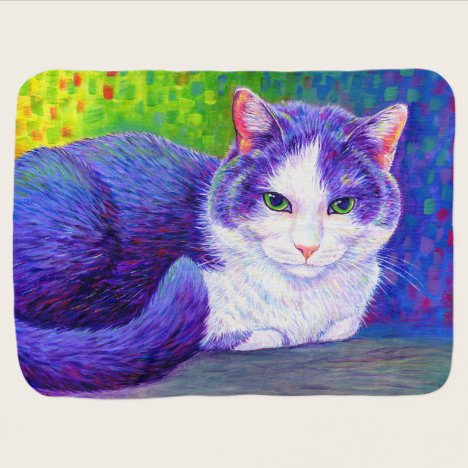 Colorful Purple and White Tuxedo Cat Baby Blanket