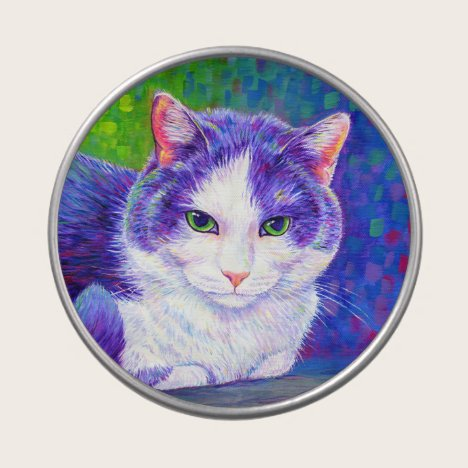 Colorful Purple and White Tuxedo Cat Candy Tin