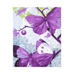 Colorful Purple Butterflies Gallery Wrapped Canvas