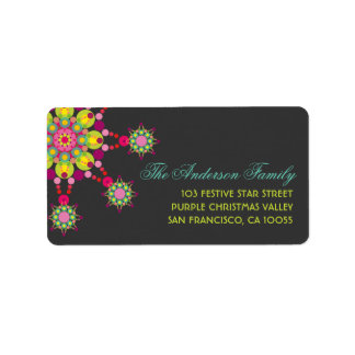 Colorful Purple Festive Flower Star Holiday Labels