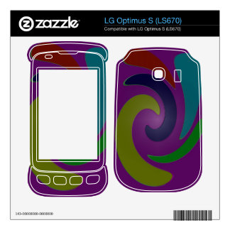 Colorful purple green blue swirl abstract skins for LG optimus s