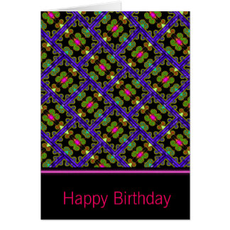 Colorful Purple & Green Mexican Style Greeting Card