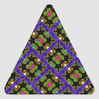 Colorful Purple & Green Mexican Style Triangle Sticker
