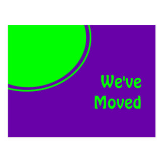 Colorful purple green Weve Moved Postcard