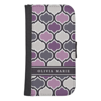 Colorful Purple Lattice Pattern with Name Galaxy S4 Wallet Case