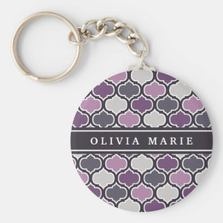 Colorful Purple Lattice Pattern with Name Keychain