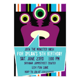 Colorful Purple Monster Birthday Party Invitations