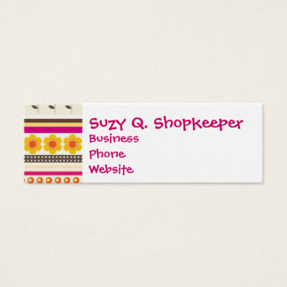 Colorful Purple Orange Flowers Striped Borders Mini Business Card