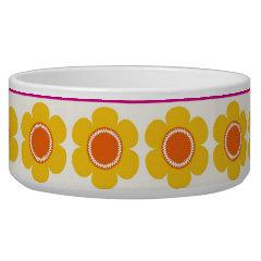 Colorful Purple Orange Flowers Striped Borders Dog Water Bowl