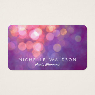 Colorful Purple Party Planner Bokeh Business Card