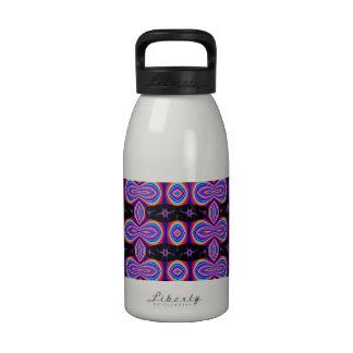 Colorful Purple Pattern on Black Drinking Bottle