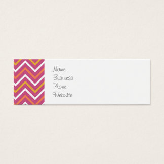 Colorful Purple Peach Orange White Chevron Stripes Mini Business Card