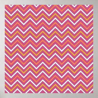Colorful Purple Peach Orange White Chevron Stripes Poster