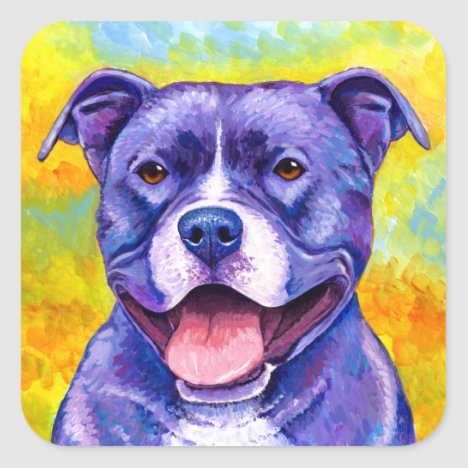 Colorful Purple Pitbull Terrier Dog Sticker