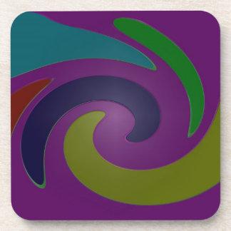 colorful purple pop art beverage coaster