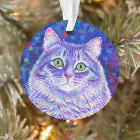 Colorful Purple Tabby Cat Acrylic Ornament