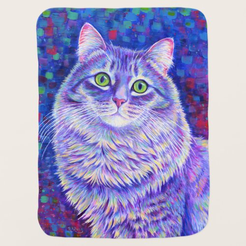 Colorful Purple Tabby Cat Baby Blanket